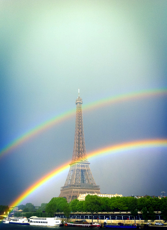 double rainbow eiffel tower
