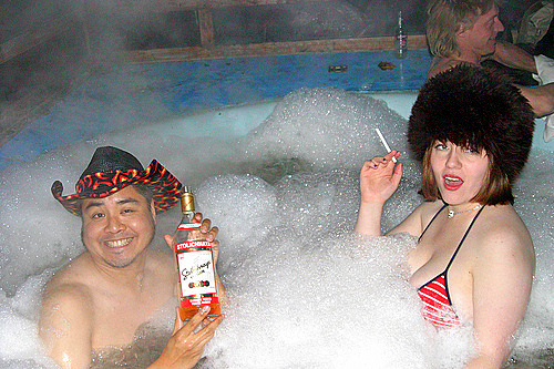 hot tub crazy couple suds