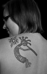 desert cicada kokopelli tattoo