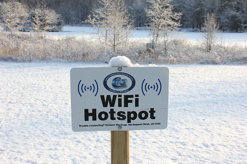 free wifi snowy lake