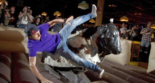 mechanical bull man falling off