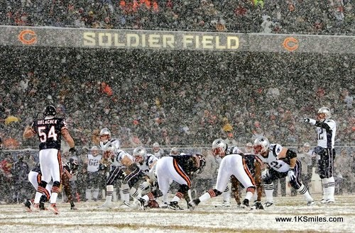 football in snow chicago bears soldier field
