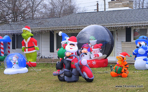 Inflatable lawn decorations group christmas halloween