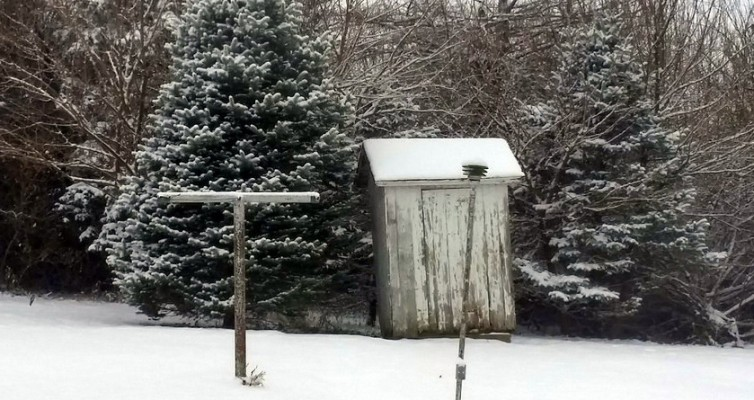 indoor plumbing outhouse out house snow
