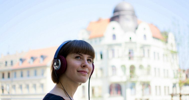 headphones girl building hip hop music