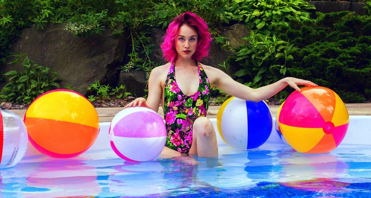 beach ball girl beachball infinity pool troy swezey
