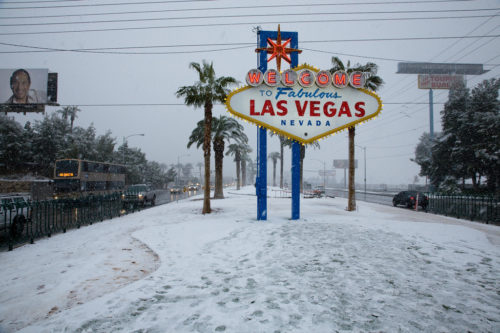 snow snowflakes las vegas sign